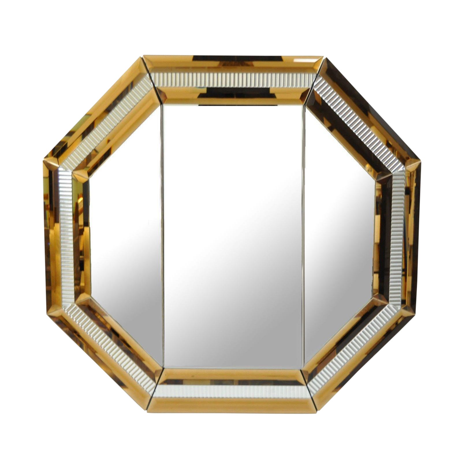 Octagonal Tri Fold Wall Bathroom Vanity Mirror | Chairish
