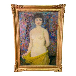 """""""Nude With Yellow Scarf"""" Original Oil Painting by Soviet Social Realism Artist Yuri L. Frolov For Sale"""