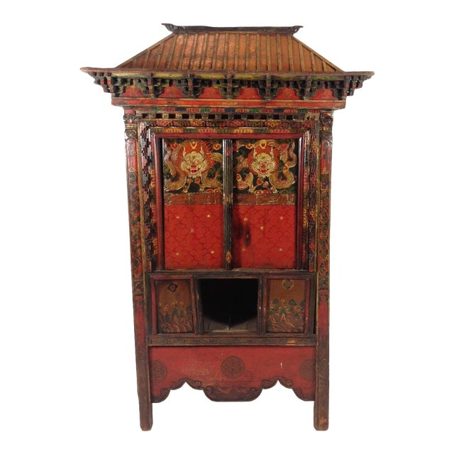 Tibetan Altar Chest With Lion Motif For Sale
