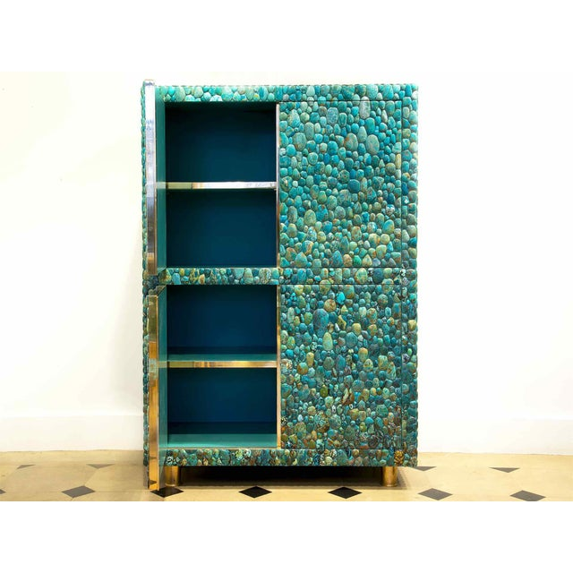 KAM TIN Cabinet with four opening doors Made with turquoise cabochons (more than 50 kg), wood and brass Unique piece...