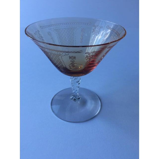 Antique Fleur De Lis Etched Amber Glass Tableware Set - Set of 37 For Sale - Image 4 of 11