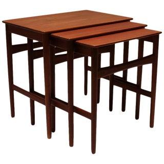 1960s Scandinavian Modern Hans J. Wegner Teak Nesting Tables - Set of 3 For Sale