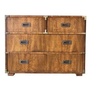 1980's Henredon Campaign 4 Drawers Dresser For Sale