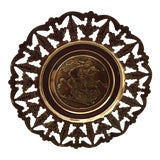 Image of Vintage Brass Neoclassical Wall Hanging For Sale