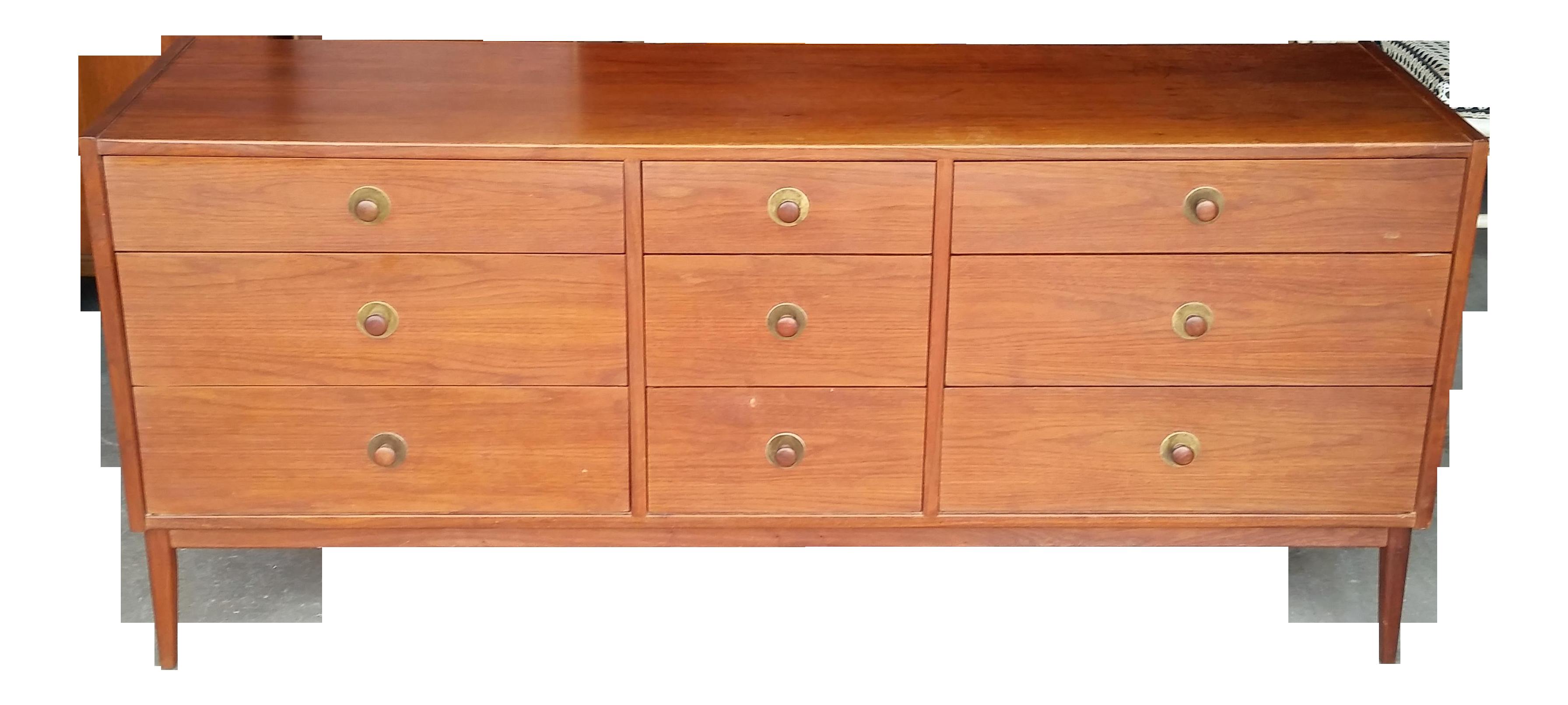 Gentil 1960s Jack Cartwright Walnut Lowboy Dresser Founders Furniture