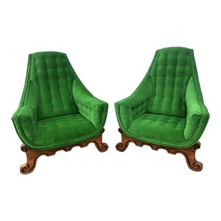 1960s Vintage Green Velvet Armchairs- a Pair For Sale