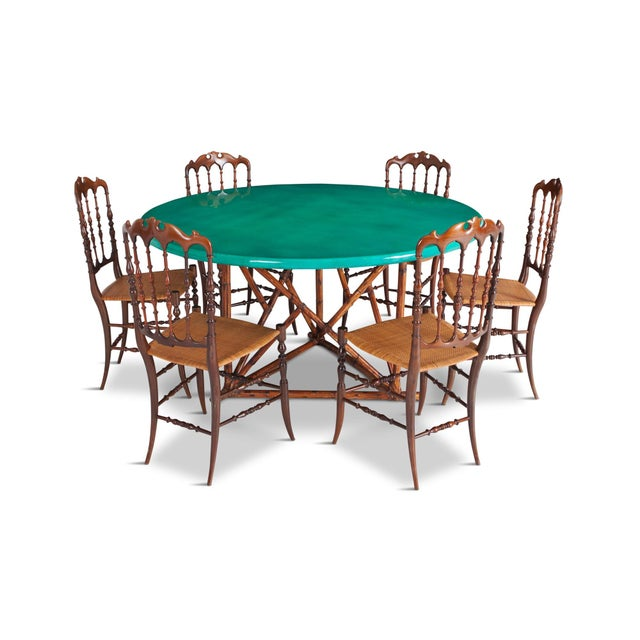 Chiavari Cherrywood & Wicker Dining Chairs After Giuseppe Gaetano Descales For Sale - Image 10 of 12