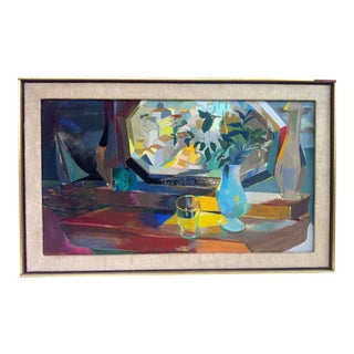 Vintage Saul Lishinsky Cubist Oil Painting For Sale