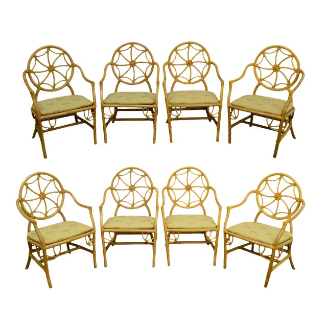 McGuire Style Vintage Rattan Bamboo Spider Back Dining Chairs - Set of 8 For Sale