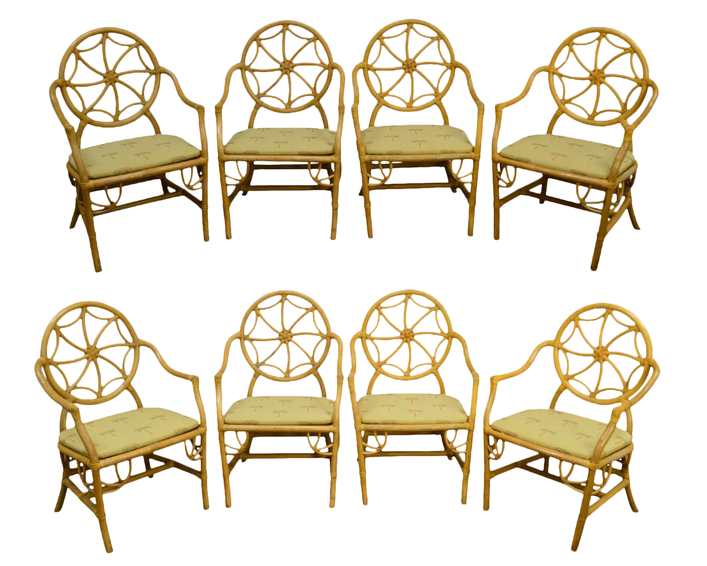 McGuire Style Vintage Rattan Bamboo Spider Back Dining Chairs   Set Of 8