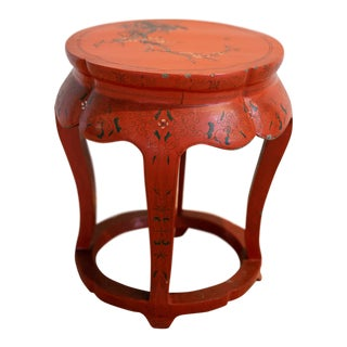 Vintage Chinese Persimmon Stool/Drink Table For Sale