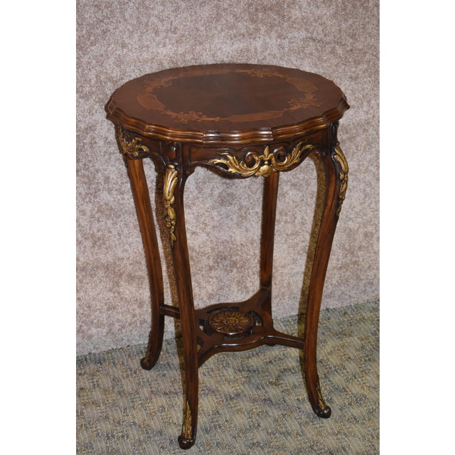 1950s French Carved & Inlaid Accent Table For Sale - Image 13 of 13