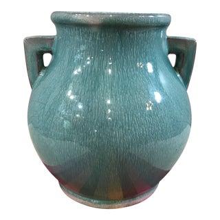 Vintage Ceramic Turquoise Double Handle Vase For Sale