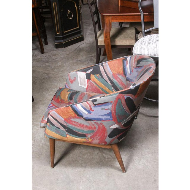 Abstract Vintage Mid Century Abstract Upholstered Danish Modern Dining Chairs- Set of 4 For Sale - Image 3 of 8