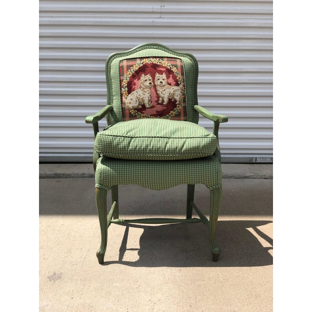 French Late 20th Century Antique French Gingham Fabric & Dog Detailing Chair For Sale - Image 3 of 9