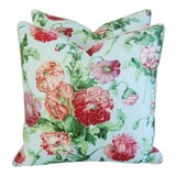 """Image of Designer Brunschwig & Fils Poppies Feather/Down Pillows 22"""" Square - Pair For Sale"""