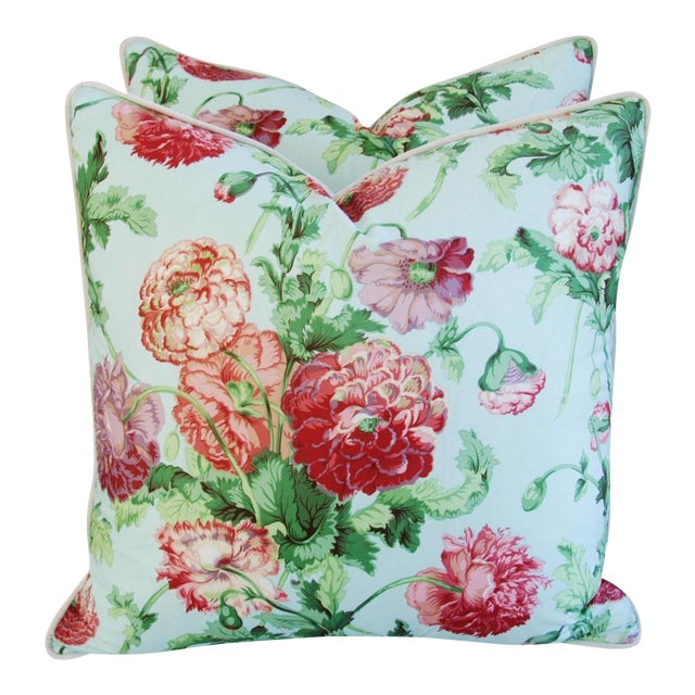 """Designer Brunschwig & Fils Poppies Feather/Down Pillows 22"""" Square - Pair For Sale"""