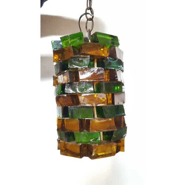 One of a kind striking, solid glass blocks in alternating yellow and green. Small natural chips out of glass. Was recently...