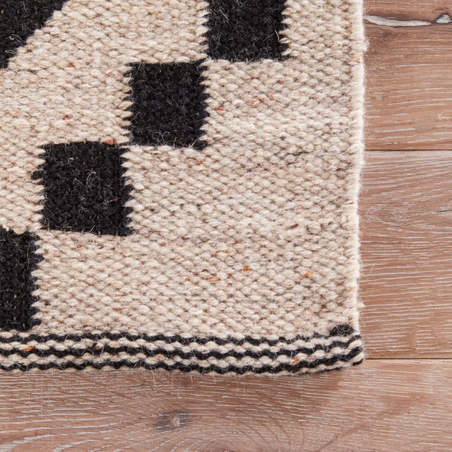 Contemporary Jaipur Living Croix Handmade Geometric Black/ White Area Rug - 5′ × 8′ For Sale - Image 3 of 6