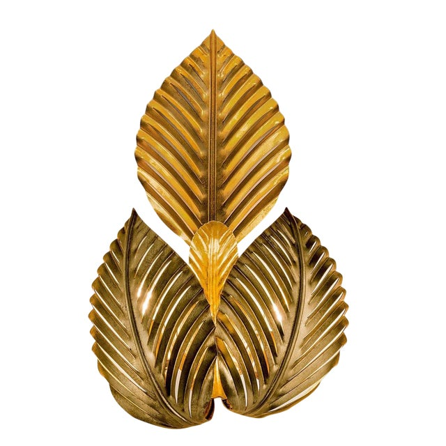 Palm Leaves Gold Leaf Wall Light For Sale