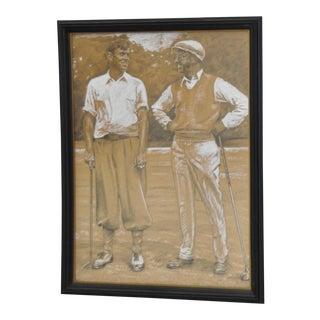 Vintage Graphite & Gouache Golfing Illustration by a.d. Mills C.1933 For Sale