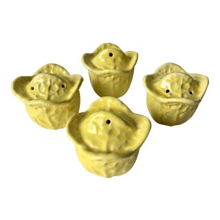 4 Majolica Cabbage Leaf S & P Shakers For Sale