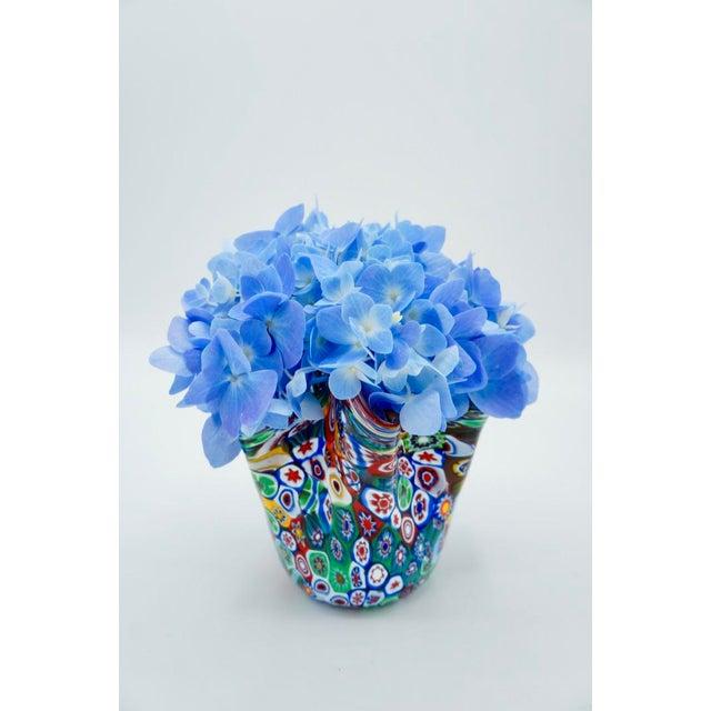 Vintage Murano Multicolored Millefiori Handkerchief Vase For Sale - Image 6 of 10