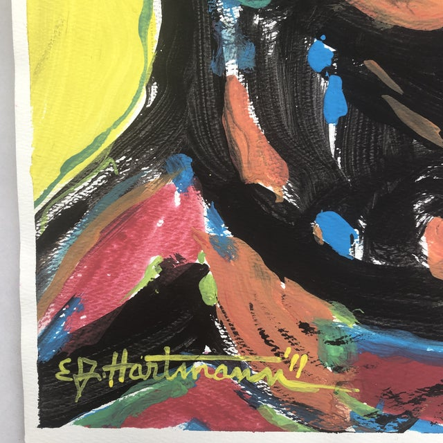 Contemporary Original Contemporary Abstract Pop Art Portrait Painting Signed For Sale - Image 3 of 5