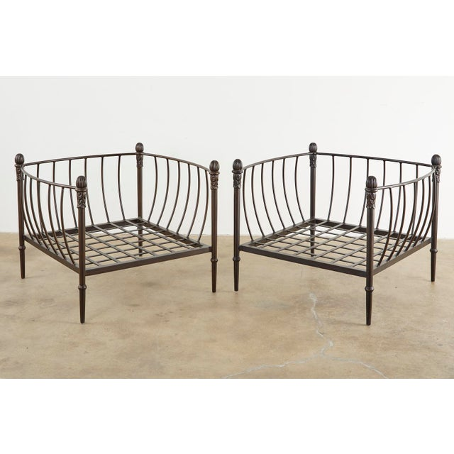Michael Taylor Set of Four Michael Taylor Bronzed Lounge Chairs With Ottomans For Sale - Image 4 of 13