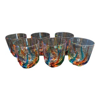 Colorful Striped Italian Glass Tumblers - Set of 6 For Sale