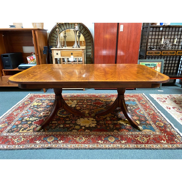 Jonathan Charles Regency Extension Table & Baker Furniture + Custom Chair Dining Set For Sale - Image 12 of 13