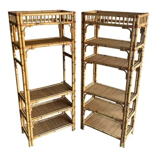 1970s Rattan Bamboo Wicker Shelving Unit Etageres - a Pair For Sale