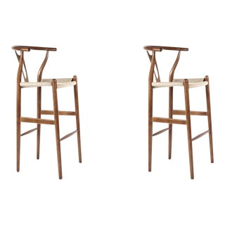 France & Son Walnut Wishbone Barstools - A Pair