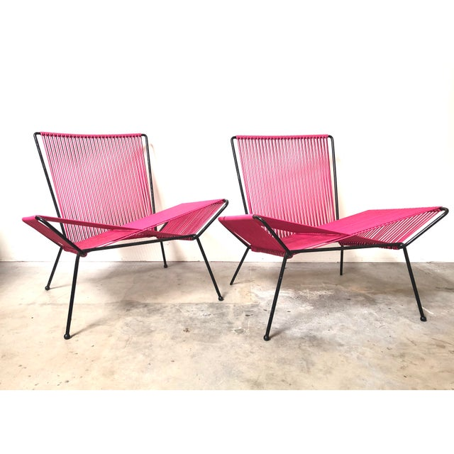 Mid 20th Century Mid Century Modern Outdoor Patio Iron & Cord Lounge Chair For Sale - Image 5 of 5