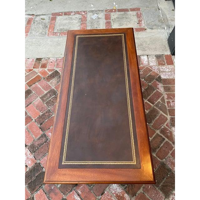 Vintage Lane Altavista Mahogany, Brass, Leather Desk For Sale In Los Angeles - Image 6 of 9