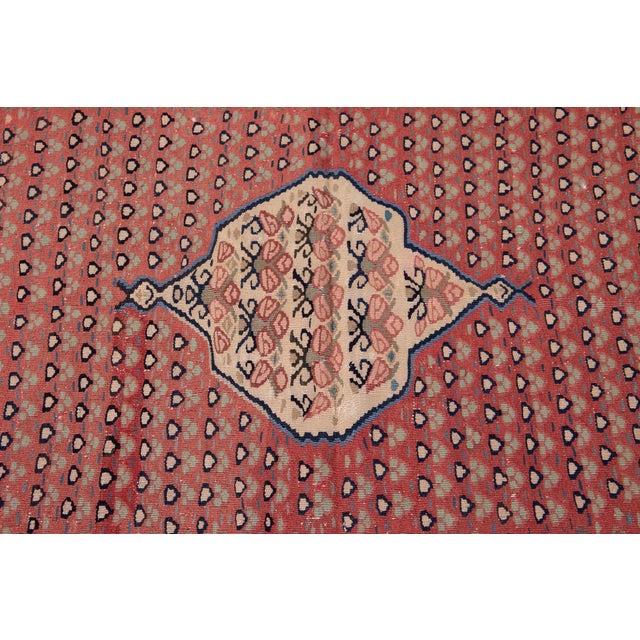 "Textile Mid-20th Century Vintage Kilim Rug 4' 5"" X 10' 11''. For Sale - Image 7 of 13"