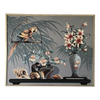 Coastal Regency Parrot and Shells Painting For Sale