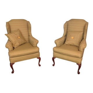 Custom Upholstered Queen Anne Wingback Chairs - a Pair For Sale