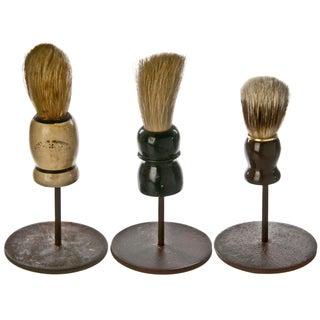 Vintage Shaving Brushes On Stands - Set of 3