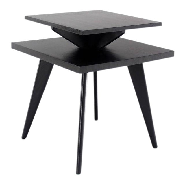 Pair of Black Lacquer Square Step Side Tables on Tapered Legs For Sale