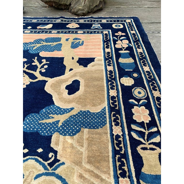 Textile Antique 1910s Blue Chinese Pictorial Rug- 5′ × 8′ For Sale - Image 7 of 13