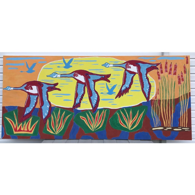 Original painting by Artist Myron Greene. Large scale multi color geese flying through a landscape reminiscent of Hockney....