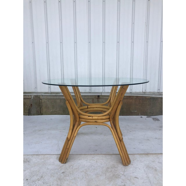 Wood Vintage Glass Top Rattan Table and Wheeled Chairs Set - Set of 5 For Sale - Image 7 of 13