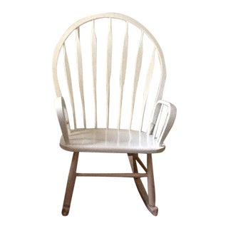 Cottage Style Wood Peacock Back Rocking Chair For Sale
