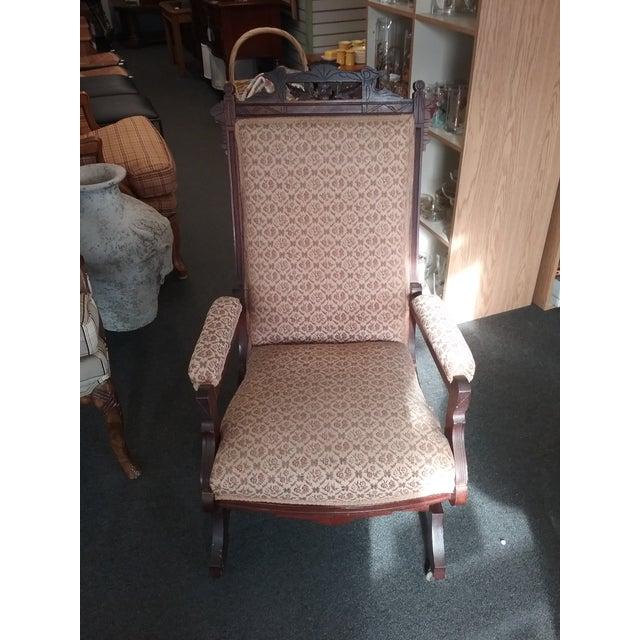 Eastlake Upholstered Victorian Wood Platform Rocking Chair For Sale - Image 13 of 13
