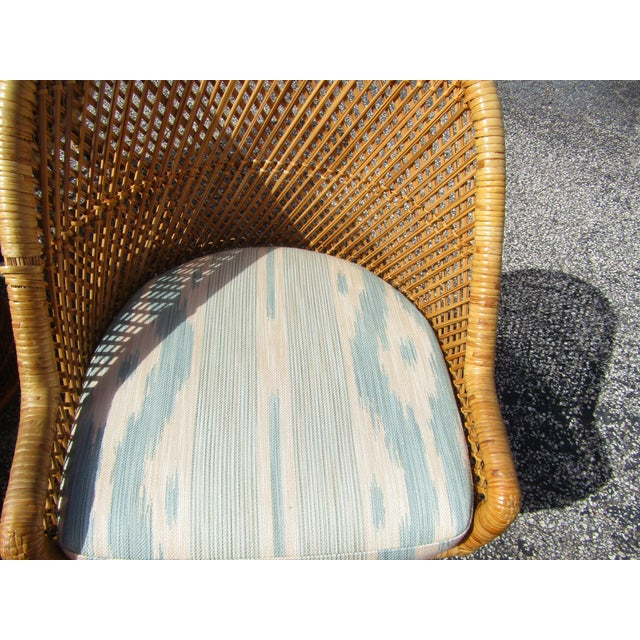 Boho Chic Rattan and Bamboo Dining Table and Four Chairs - 5 Pieces For Sale - Image 9 of 10