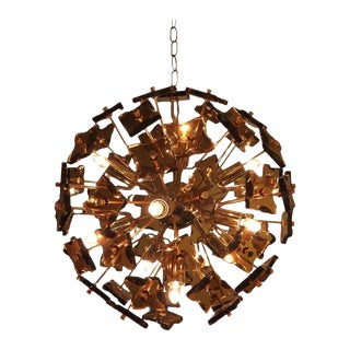 1960s Art Deco Fontana Arte Bronze and Glass Sputnik Chandelier For Sale