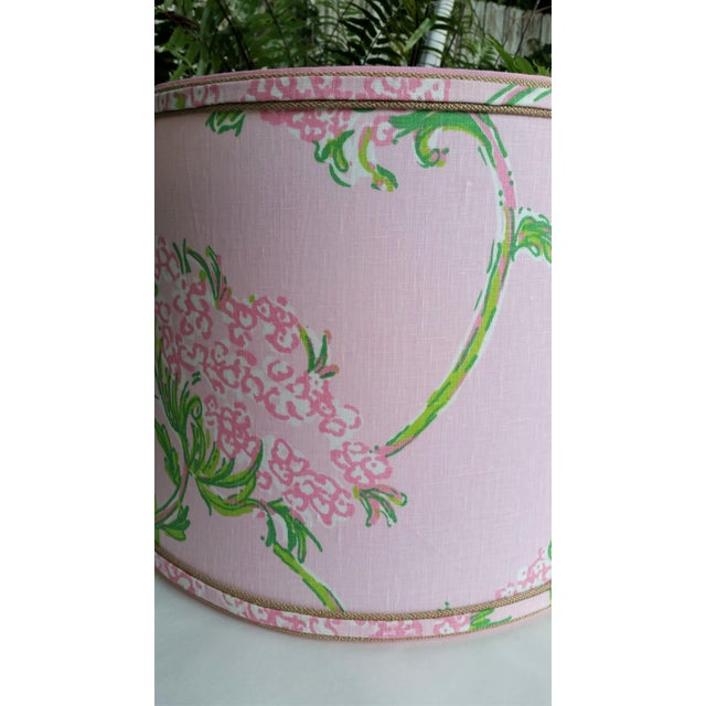 Large Lampshade Lilly Pulitzer Fabric Floral Pink For Sale In West Palm - Image 6 of 11