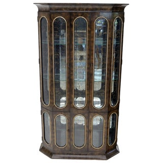 Mastercraft Burl Wood and Glass Curio Display Cabinet Vitrine Étagère Breakfront For Sale