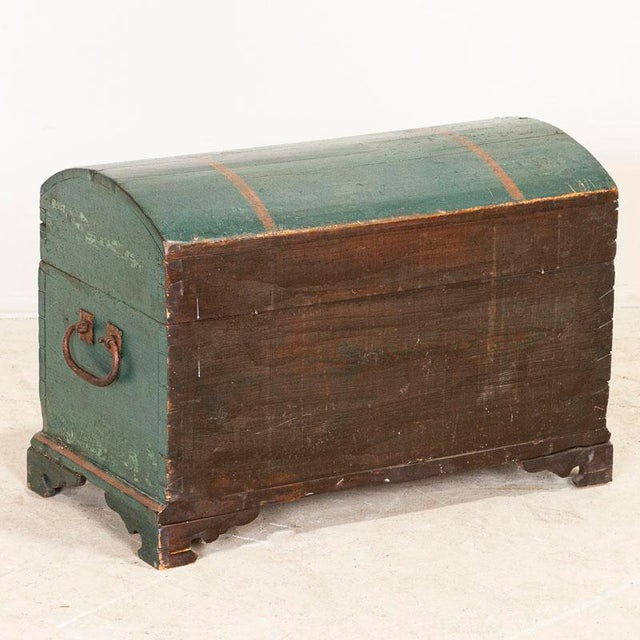 Antique Original Blue Painted Small Trunk Dated 1788 From Sweden For Sale - Image 4 of 13